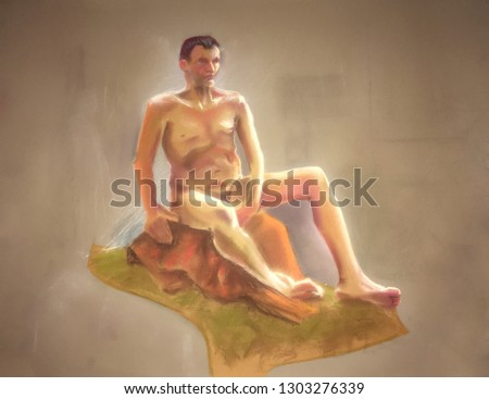 pastel painting - sitting man. Illustration created manually with soft pastels