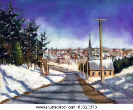 Pastel Painting: Valley Church in Winter