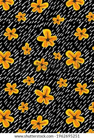 Pastel pattern of flowers, on a black striped bed background, daisies, for textiles, clothing, bed linen, dresses, pattern, without seam.