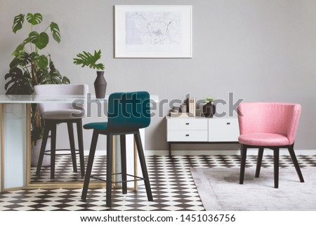 Pastel pink chair in beige and grey living room interior #1451036756
