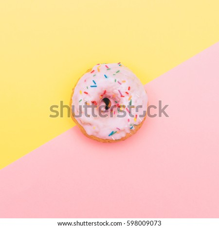 pastel pink donut in minimal. fashion trend of fast food. #598009073