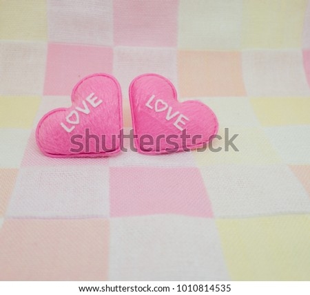 pastel pink heart on sweet love background. Valentine day #1010814535