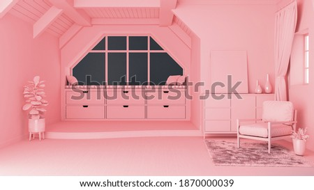 Pastel pink monotone concept living room interior with open space and split-level floor, 3d rendering Foto stock ©