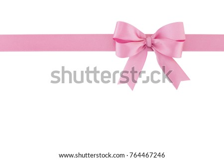pastel pink ribbon with bow isolated on white background, simplicity decoration for add beauty to gift box and greeting card, flat lay close-up top view