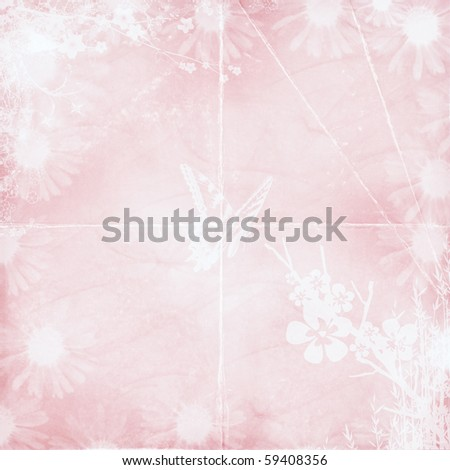 pastel pink textured background with floral design