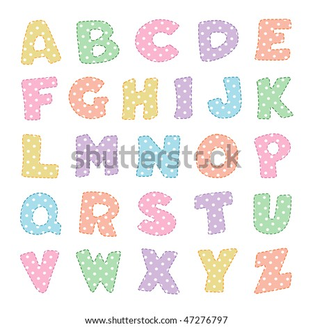Pastel Polka Dot Alphabet with stitching. Original letter design for scrapbooks, albums, crafts and back to school projects.