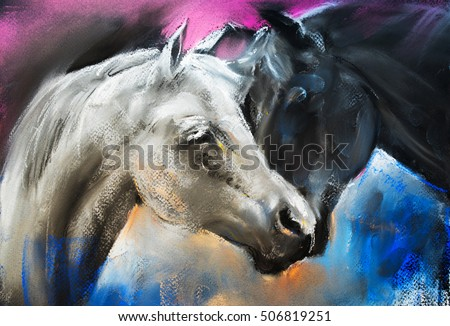 Pastel portrait of a couple horses on a cardboard. Modern art