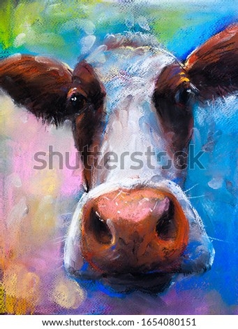 pastel portrait painting.Cow portrait.  Modern art.