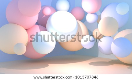 Pastel room decorated with random sizes balls. 3d rendering picture.