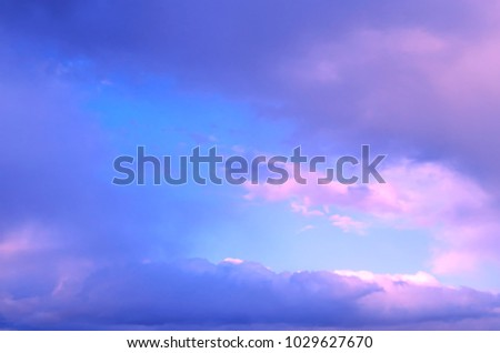 Pastel sky with soft clouds for background. Natural impressionism. #1029627670