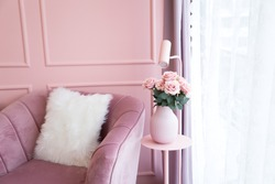 pastel sweet pink living room .