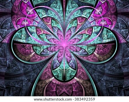 Pastel tone fractal flower, digital artwork for creative graphic design