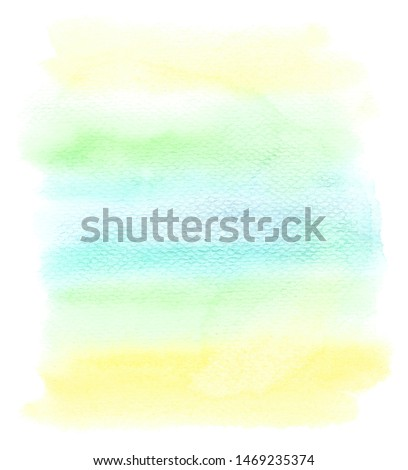 Pastel watercolor gradient splotch. Abstract yellow green background with watercolor paper texture