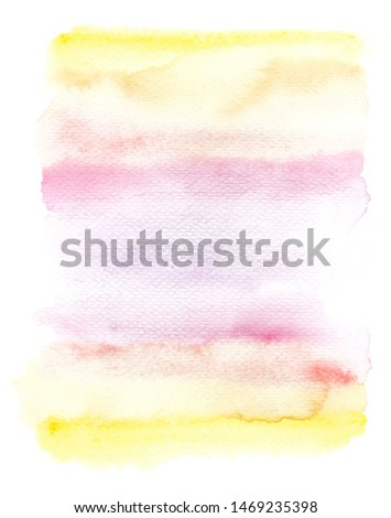 Pastel watercolor gradient splotch. Abstract yellow pink background with watercolor paper texture