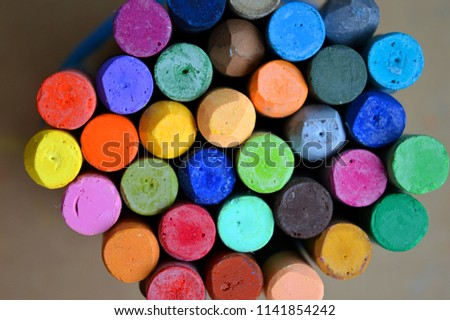 Pastels. Oil pastels. Colorful pastels. Art supplies. Child play. Education. #1141854242