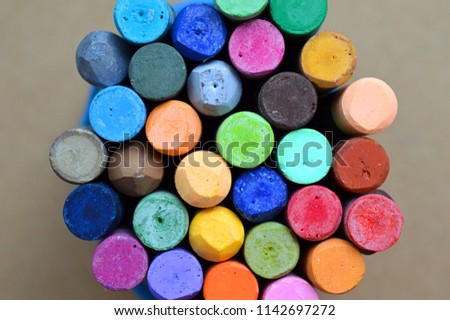 Pastels. Oil pastels. Colorful pastels. Art supplies. Child play. Education. Art studio. #1142697272