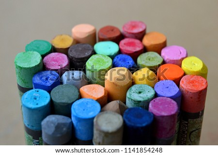 Pastels. Oil pastels. Colorful pastels. Art supplies. Child play. Education. Text: oil pastels. #1141854248