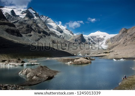 Pasterze glacier in the Austrian Alps within the Glockner Group of the High Tauern mountain range, directly beneath Austria's highest mountain, the Grossglockner