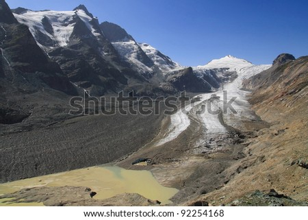 Pasterze glacier in the National Park of Hohe Tauern, Austria.