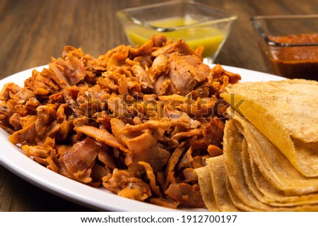 Pastor meat tacos with corn tortillas. Traditional mexican food. Mexican food on wooden background. Mexican taco concept. Stok fotoğraf ©