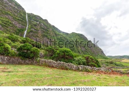 Pastoral summer scene near near Faja Grande in the Azores. #1392320327