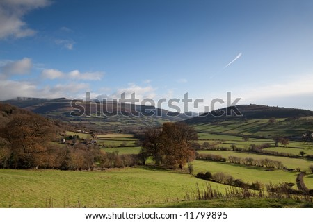 Pastoral Welsh countryside on the edge of the Brecon Beacons