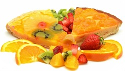 Pastry cakes and fresh fruit