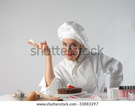 pastry chef preparing a chocolate cake