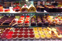 Pastry shop. Variety of cakes
