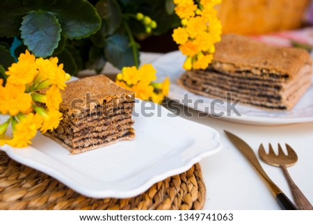 Pastry with poppy. Nice spring breakfast. Stok fotoğraf ©