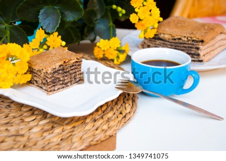 Pastry with poppy with cup of coffee. Nice spring breakfast. Stok fotoğraf ©