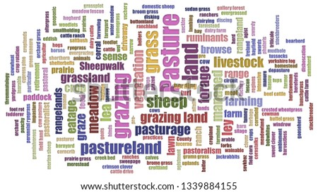 Pasture Tagcloud Jumbled On White Background