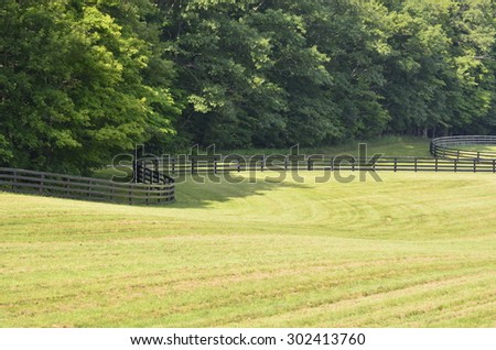 Pastures in the countryside landscape with a dark brown painted country style fence on a sunny summer day  #302413760