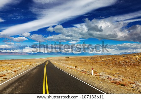 Patagonian landscape with road and Viedma Lake, Argentina