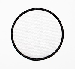 Patch, blank, circle. White with black trim.
