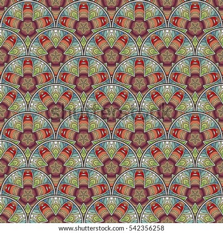 Patch Boho Flower Seamless Pattern. Mandala patchwork, oriental design. Wallpaper, furniture textile, fabric print, pillow deco. Raster background