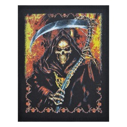 Patch depicting death with a scythe. Accessory for bikers, motorcyclists, rockers, metalheads, punks. Rock'n'roll.