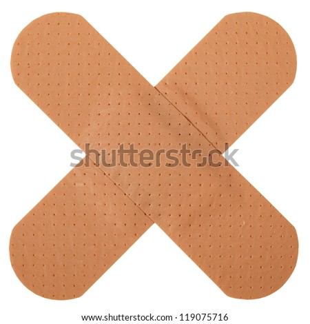 Patch in cross shape, isolated on white background