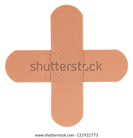 Patch in shape of a plus, isolated on white background