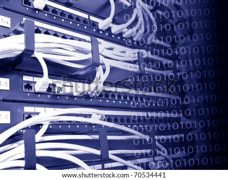 Patch panel with white cables - stock photo