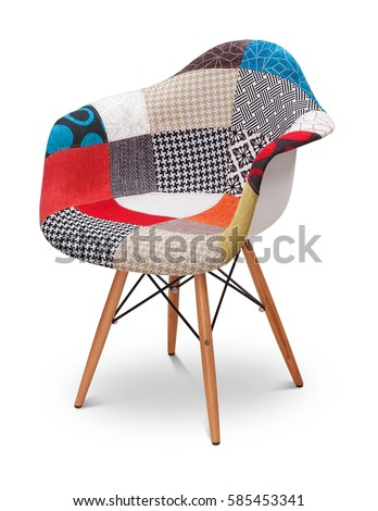 Patchwork armchair, chair, modern designer. Armchair isolated on white background. Series of furniture