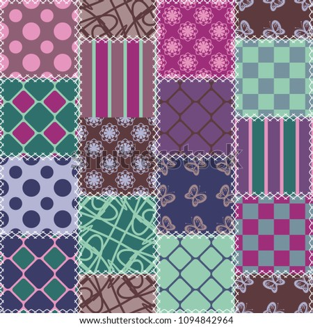 patchwork background with different patterns #1094842964