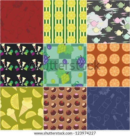 patchwork background with food and drinks