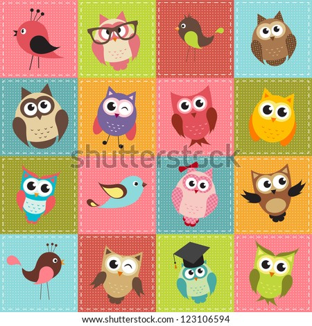 patchwork background with owls. Raster version