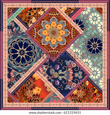 Patchwork pattern with flowers, mandalas and ornamental frame. Vintage decorative elements. Greeting card, bandana print, square carpet, unique blanket. Cushion, paper, wrapping design.