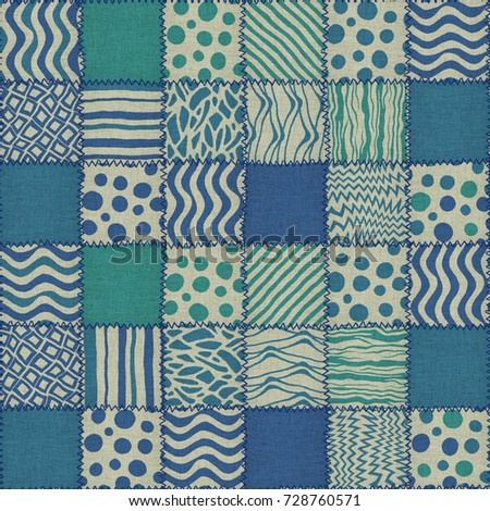 Patchwork quilt seamless texture, 3d illustration
