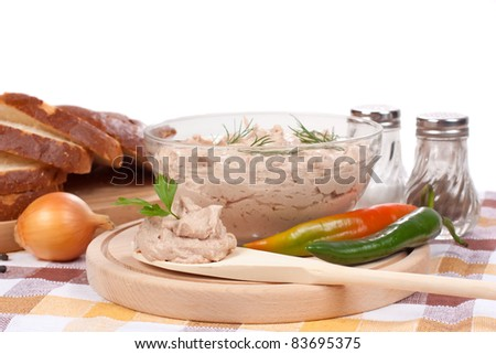 pate' on bowl with bread with white background