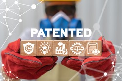 Patent Copyrights Protection Manufacturing Production Concept. Patented Intellectual Property Industrial Technology.