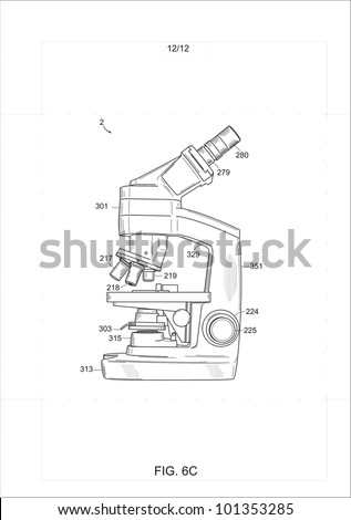 Patent drawing of a microscope