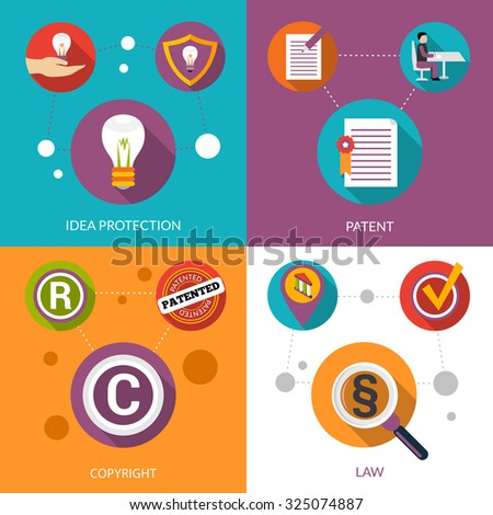 Patent idea protection design concept set with copyright and law flat icons isolated  illustration